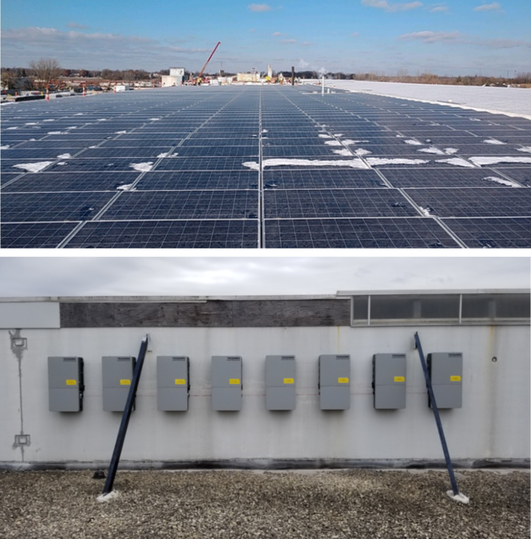 Two shots of a rooftop solar project outside Chicago