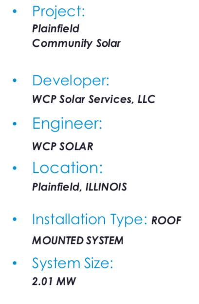 Solar PV system specs Plainfield Dukane