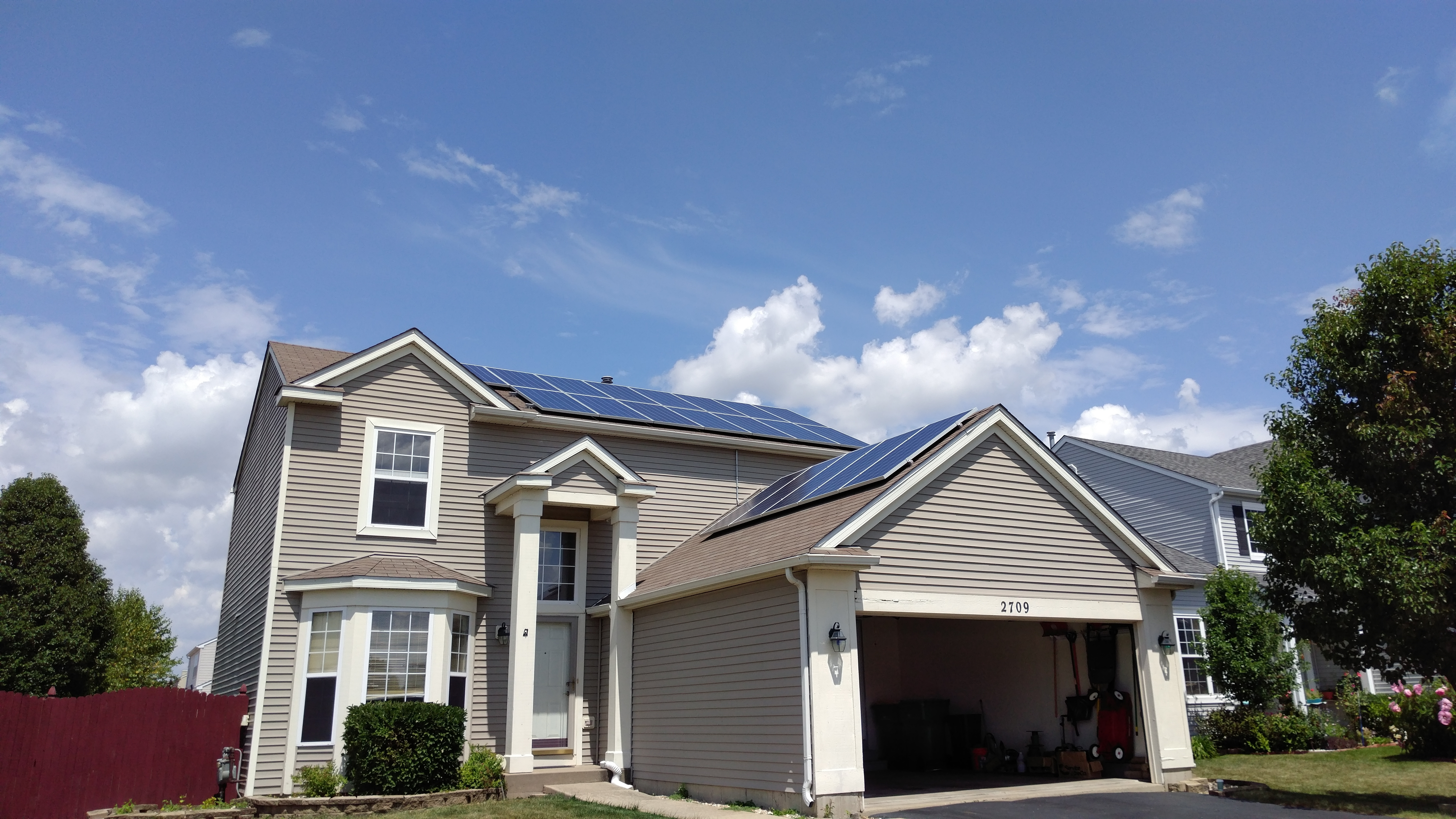 Rooftop residential home solar cells, solar panels, solar system.