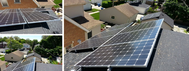 Rooftop solar energy system installed on a Park Ridge Home in Illinois by WCP Solar