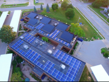 solar panel system on roof of commercial building