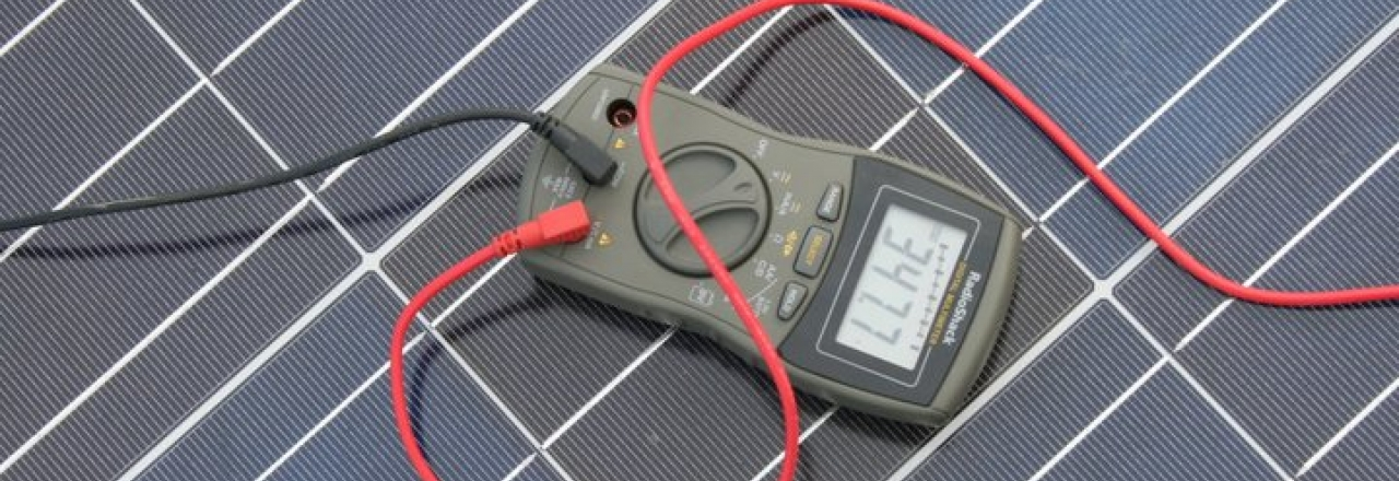 PV Solar Cell Panel with Multimeter