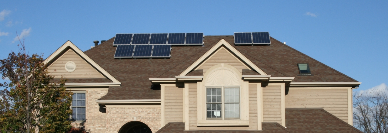 House with solar panels near Chicago