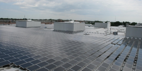 Real estate and marketing rooftop pv solar installation, Lombard