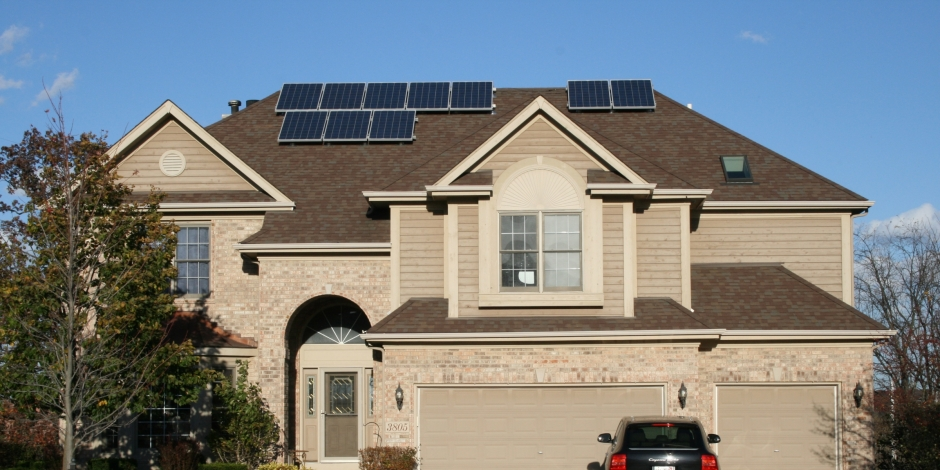 solar panel installation on residential home roof